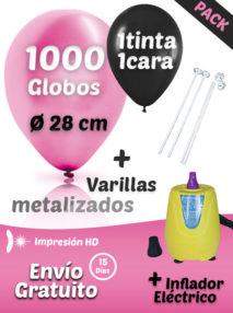 1000 Globos Personalizados Metalizados + 1000 Varillas + Inflador Eléctrico Pack Metalizado