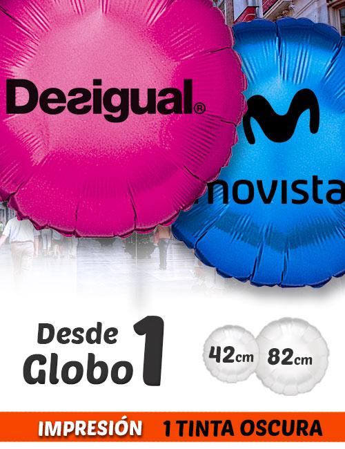 Globos de Helio Personalizados Redondos A 1 Tinta · De 1 a 5 Globos