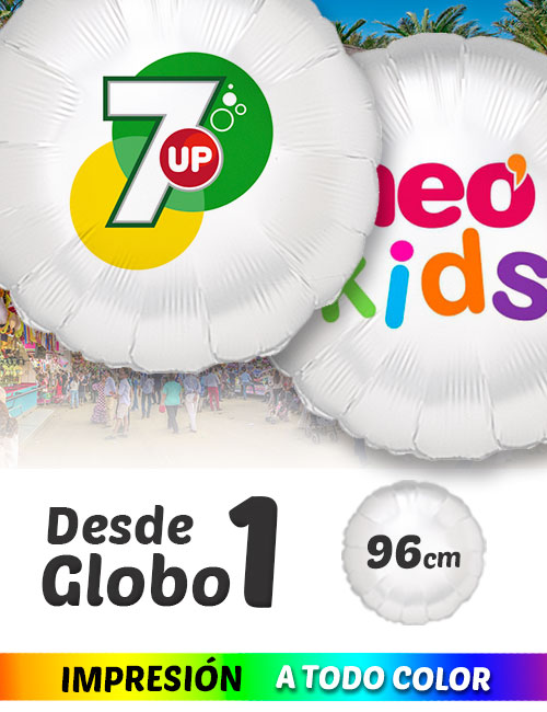 Globos de Helio Personalizados Redondos Ramos A Todo Color 96 cm