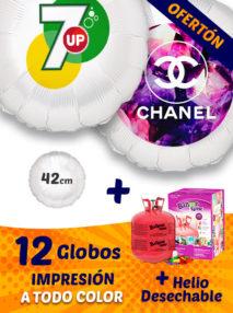 Pack Ofertón de 12 Globos de Helio Personalizados Redondos A Todo Color 42 cm + Bombona de Helio