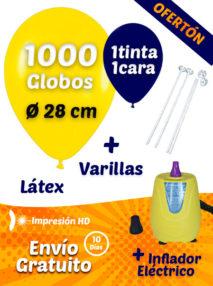 1000 Globos Personalizados 28 cm 1 cara 1 tinta+ 1000 Varillas + Inflador Eléctrico Pack Ofertón Ahorro