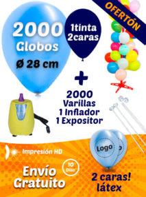 2000 Globos Personalizados 28 cm 2 caras 1 tinta + 2000 Varillas + Inflador Eléctrico + Expositor Pack Ofertón Decora Tu Tienda
