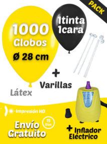 1000 Globos Personalizados + 1000 Varillas + Inflador Eléctrico Pack Ahorro