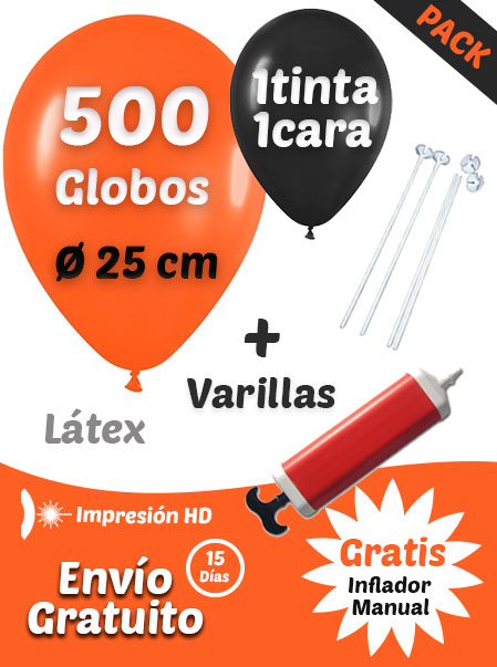 500 Globos Personalizados + 500 Varillas + Inflador Manual Gratis · Pack Básico