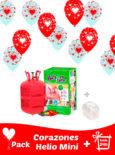 20 Globos Corazones + Helio Mini · Pack San Valentín Mini