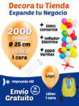 2000 Globos Personalizados Metalizados + 2000 Varillas + Inflador Eléctrico + Expositor Pack Decora Tu Tienda