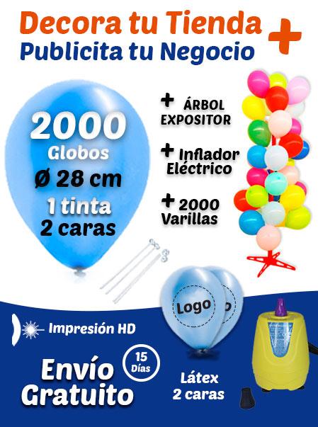 2000 Globos Personalizados + 2000 Varillas + Inflador Eléctrico + Expositor Pack Decora Tu Tienda +