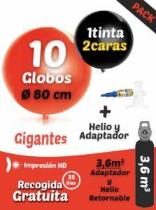 Pack Gigante: 10 Globos Gigantes Personalizados + Helio 3,6 + Adaptador
