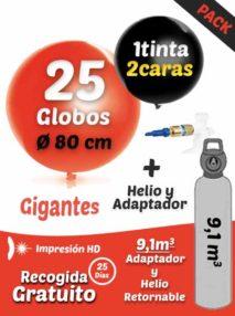 Pack Gigante+: 25 Globos Gigantes Personalizados + Helio 9,1 + Adaptador