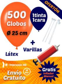 500 Globos Personalizados 25 cm 1 cara 1 tinta + 500 Varillas + Inflador Manual Gratis Pack Ofertón Básico