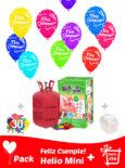 Pack 20 Globos Feliz Cumpleaños + Helio Mini · Pack Cumpleaños Mini