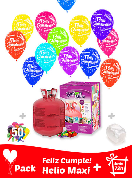 40 Globos Feliz Cumpleaños + Helio Maxi · Pack Cumpleaños Maxi
