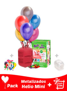 Pack 30 Globos Metalizados + Helio Mini · Pack Metalizados Mini