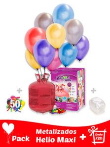 50 Globos Metalizados + Helio Maxi · Pack Metalizados Maxi