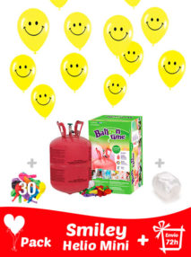 20 Globos Cara Feliz (Smiley) + Helio Mini · Pack Sonrisa Mini