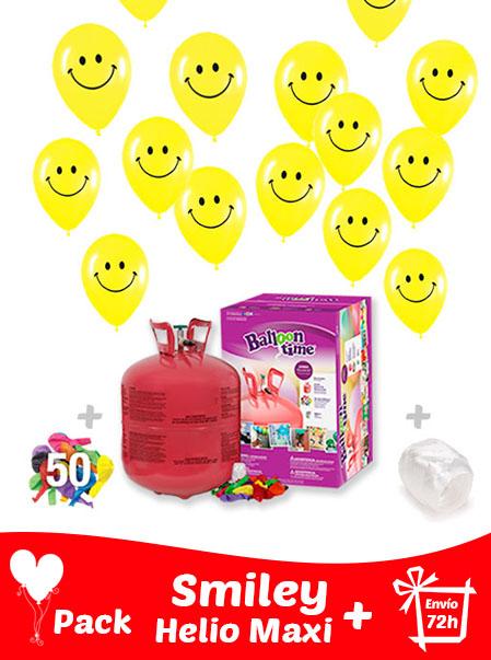 40 Globos Cara Feliz (Smiley) 30 cm + Helio Maxi · Pack Sonrisa Maxi
