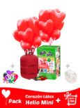20 Globos Corazon Latex + Helio Mini · Pack Corazon Latex Mini