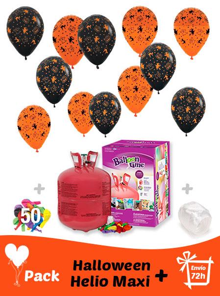 40 Globos Halloween + Helio Maxi · Pack Halloween Maxi