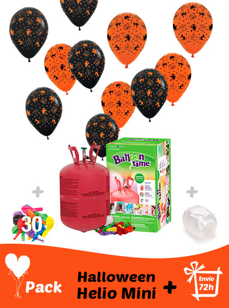 20 Globos Halloween 30 cm + Helio Mini · Pack Halloween Mini