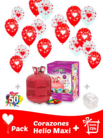 40 Globos Corazones + Helio Maxi · Pack San Valentín Maxi