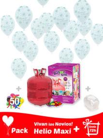 40 Globos Vivan los Novios + Helio Maxi · Pack Boda Maxi