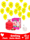 20 Globos Cara Feliz (Smiley) + Helio Mini · Pack Sonrisa Maxi