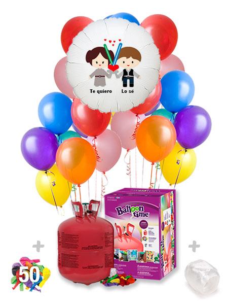 Pack San Valentín Color+: Globo Poliamida Personalizado A Color + Helio Maxi
