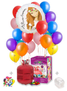 Pack Comunion Color+: Globo Poliamida Personalizado A Color + Helio Maxi