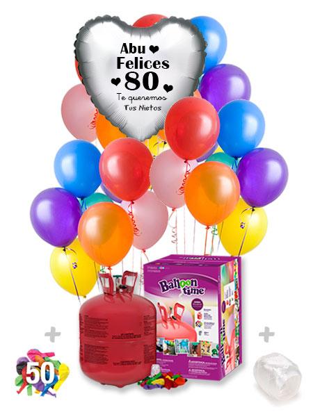 Pack Fiestas y Cumpleaños + : Globo Poliamida Personalizado 1 TINTA + Helio Maxi