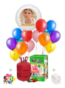 Pack Comunion Color: Globo Poliamida Personalizado A Color + Helio Mini