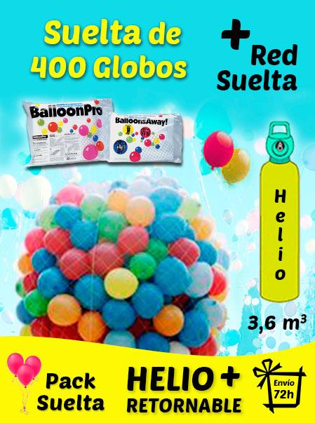 Pack Suelta de Globos 400 Globos + Helio + Adaptador + Red