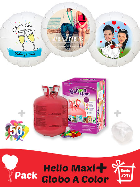 Pack Boda+: Globo Poliamida Personalizado A Color + Helio Maxi