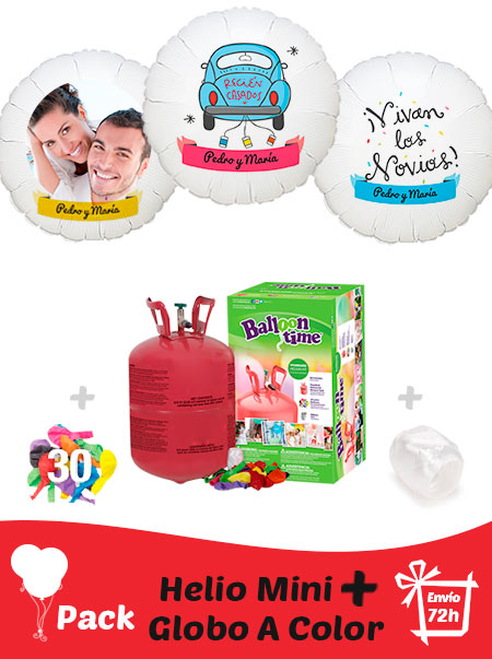 Pack Boda: Globo Poliamida Personalizado A Color + Helio Mini