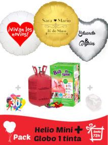 Pack Boda: Globo Poliamida Personalizado 1 TINTA + Helio Mini