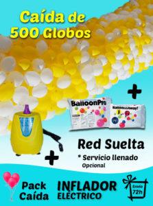 Pack Caída de Globos 500 Globos + Inflador Electrico + Red + Envío
