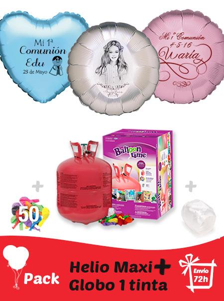 Pack Comunion + : Globos Poliamida Personalizados 1 TINTA + Helio Maxi