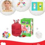 Pack Comunion Color: Globo Poliamida Personalizado A Color + Helio Mini