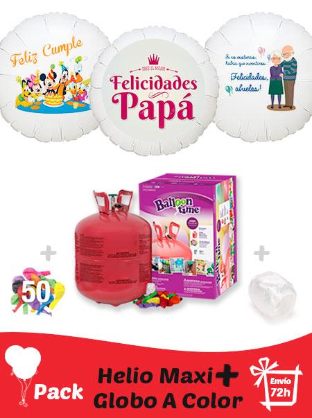 Pack Fiestas y Cumpleaños Color+: Globo Poliamida Personalizado A Color + Helio Maxi