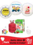 Pack Fiestas y Cumpleaños Color: Globo Poliamida Personalizado A Color + Helio Mini