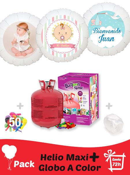 Pack Bautizo Color+: Globo Poliamida Personalizado A Color + Helio Maxi