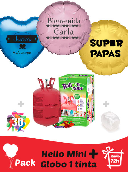 Pack Bautizo: Globo Poliamida Personalizado 1 TINTA + Helio Mini