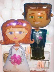 novio y novia de helio bodas con globos