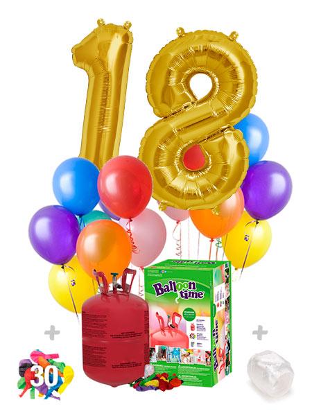 Pack Numeros: 2 Globos Numeros Poliamida + Helio Mini