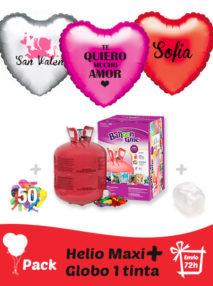 Pack San Valentin +: Globo Poliamida Personalizado 1 TINTA + Helio Maxi