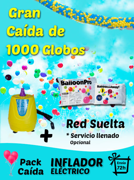 Pack Gran Caída de Globos 1000 Globos + Inflador Electrico + Red + Envío