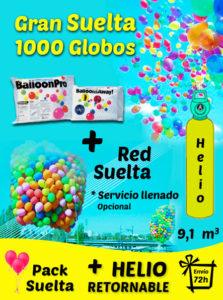 Pack Gran Suelta de Globos 1000 Globos + Helio + Adaptador + Red + Envío