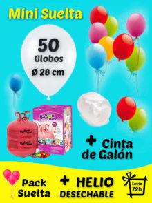 Pack Mini Suelta de Globos 50 Globos + Helio + Cinta de Atado + Envío