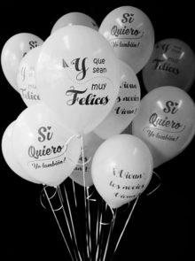 20 Globos Boda Blancos 3 Diseños + Helio Mini