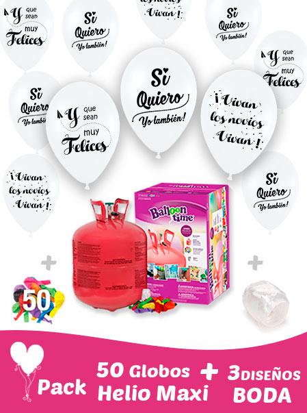 Pack 40 Globos Boda Blancos 3 Diseños + Helio Maxi