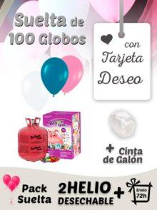 Suelta 100 Globos Boda con Tarjeta Deseo y helio